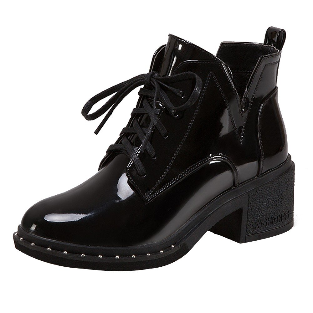 613a9aeec32 Londony ♪✿ Clearance Sales,Women's Cross Rain Boots Waterproof Slip On  Ankel Booties Patent Leather Martin Shoes