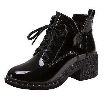 918ca035763b Moonuy Femmes Bottines à Talons Bloc Bout Pointu Lacets Style avec  Fermeture Eclair Retro Chaussure Mode