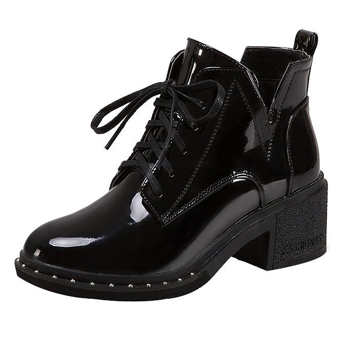 ❤️Botas de Mujer Impermeables, Botas Planas Planas de Las Mujeres de Moda con Cordones Zapatos de Charol Casuales de Absolute: Amazon.es: Ropa y ...