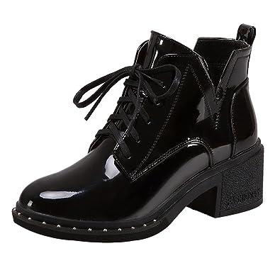 01e59938febc29 ELECTRI 2018 Chaussures Femme Hiver,Femme Chaussures à Plateforme Bottes à  Lacets Noires Matin Bottes