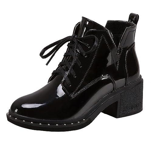 Logobeing Botas Altas Planas con Cordones de Punta Redonda de Mujer Moda Zapatos Casuales de Charol