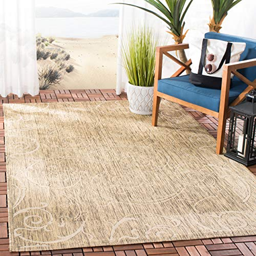 (Safavieh Courtyard Collection CY2665-3009 Brown and Natural Indoor/ Outdoor Area Rug (5'3