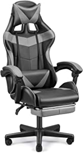 SOONTRANS High Back Office Chair with Footrest, Grey Computer Chair, Ergonomic Chair for Adults, Video Game Chair for Man(Monsoon Grey)