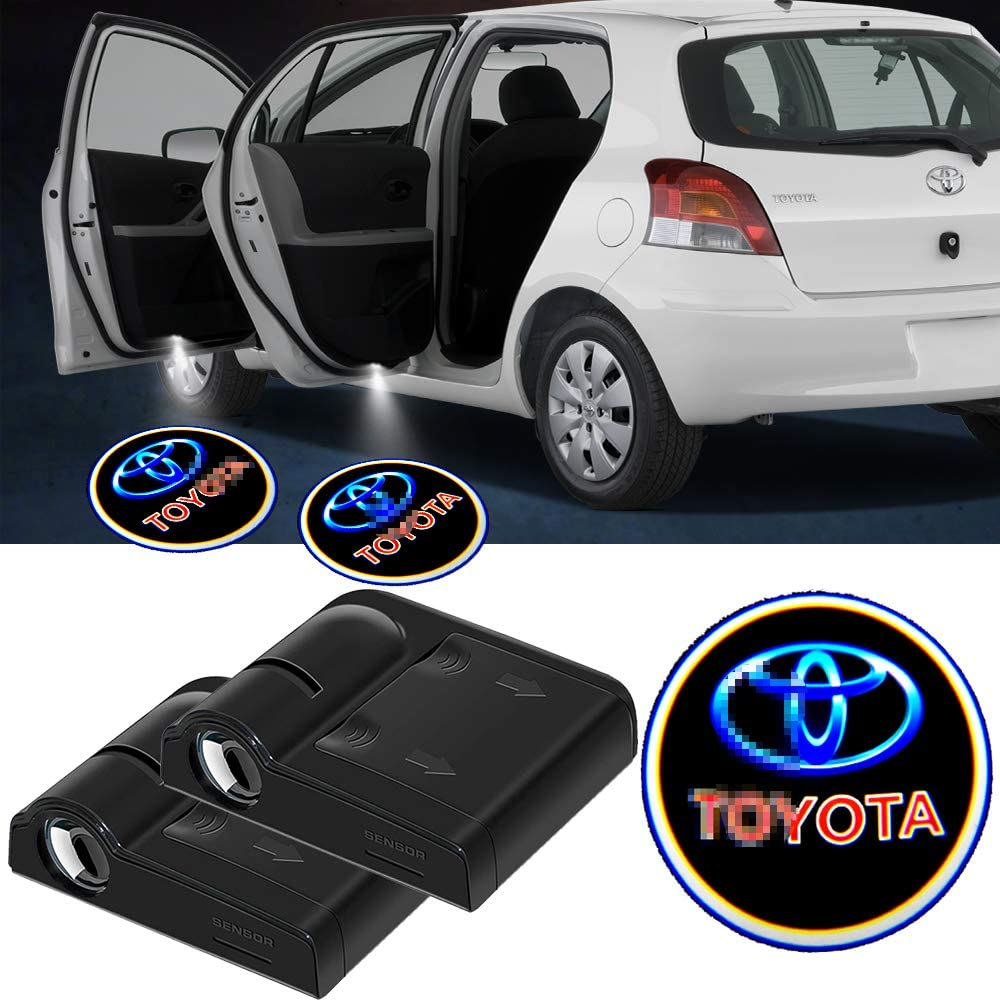 2pcs Wireless Car Door Welcome Light for Toyota,Toyota Logo Led Car Door Courtesy Light Laser Projector Lamp Fit for Most Toyota Models.