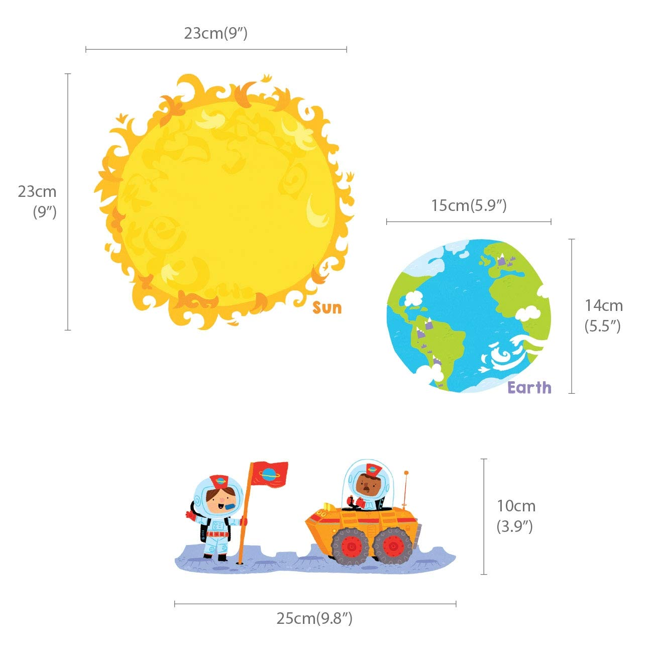 DECOWALL DW-1707N Planets and Space Kids Wall Stickers Wall Decals Peel and Stick Removable Wall Stickers for Kids Nursery Bedroom Living Room