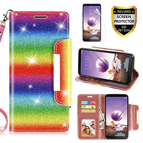 LG Stylo 4 Case, with Screen Protector, with Screen Protector, TPU + Leather Bling Glitter Flip Wallet Case with Kickstand Credit Card Holder Slot for Girls/Women (Rainbow)