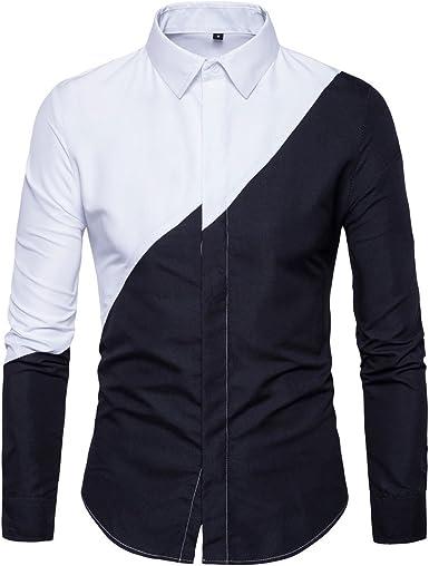LANMWORN Hombres Manga Larga BritáNico Casual Blanco Negro Bloquear Blusa Traje Camisas, BotóN Abajo Negocio Formal Vestir Suit Shirt.: Amazon.es: Ropa y accesorios