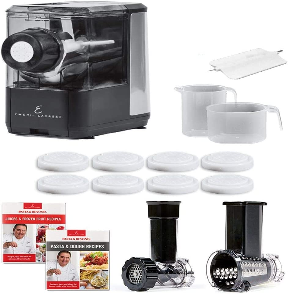 Emeril Lagasse Pasta & Beyond Pasta and Noodle Maker by Emeril Everyday Kitchen Appliances, Black (Deluxe)