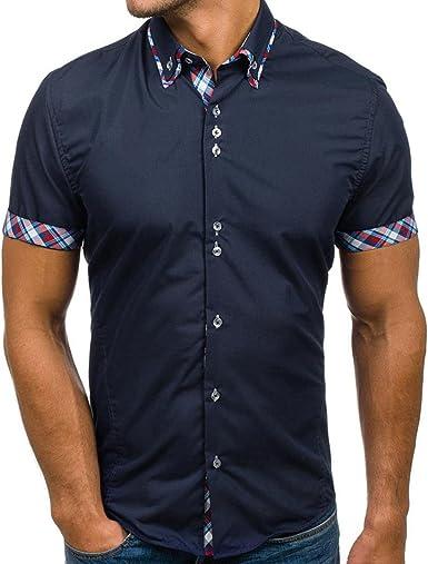 OHQ Camisa para Hombre Negro Blanco Azul Rojo Armada Casual Camisa De Rayas Manga Corta para Hombre Blusa De Cuello Alto De Verano De Los Hombres Camiseta Delgada Blusa: Amazon.es: Ropa y