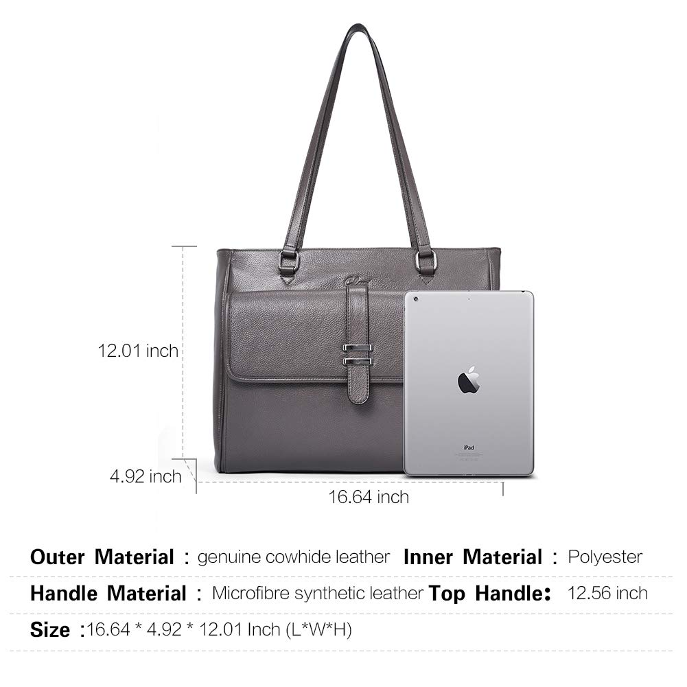 688e9866f2b2 Genuine Leather Laptop Tote Bags for Women Large Briefcase Work Ladies  Handbag Fits Up to 15.6 Inch Gray