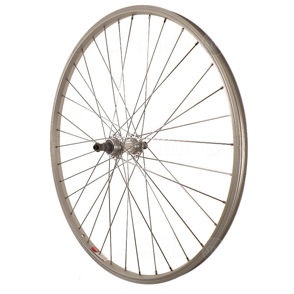 Sta Tru Silver Alloy ATB 6-7 Speed Freewheel Hub Quick Release Rear Wheel (26X1.5-Inch) by Sta Tru