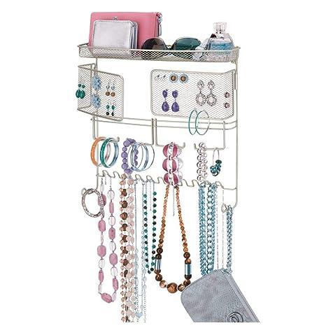 mDesign Colgador de joyas – El perfecto joyero organizador para pendientes y otros accesorios – Colgador ideal para colgar collares o pulseras y ...