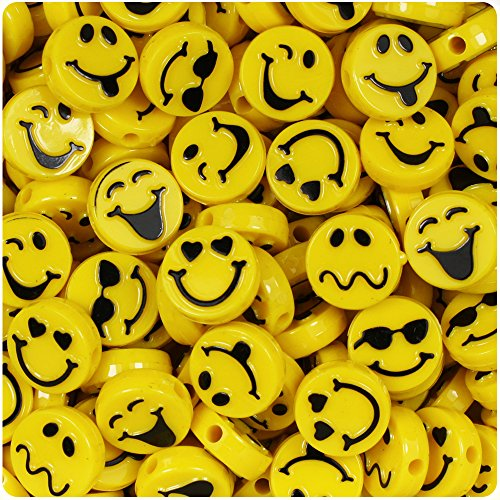 BEADTIN Expressions 13mm Picture Beads - Bright Yellow with Black (Bright Beads)