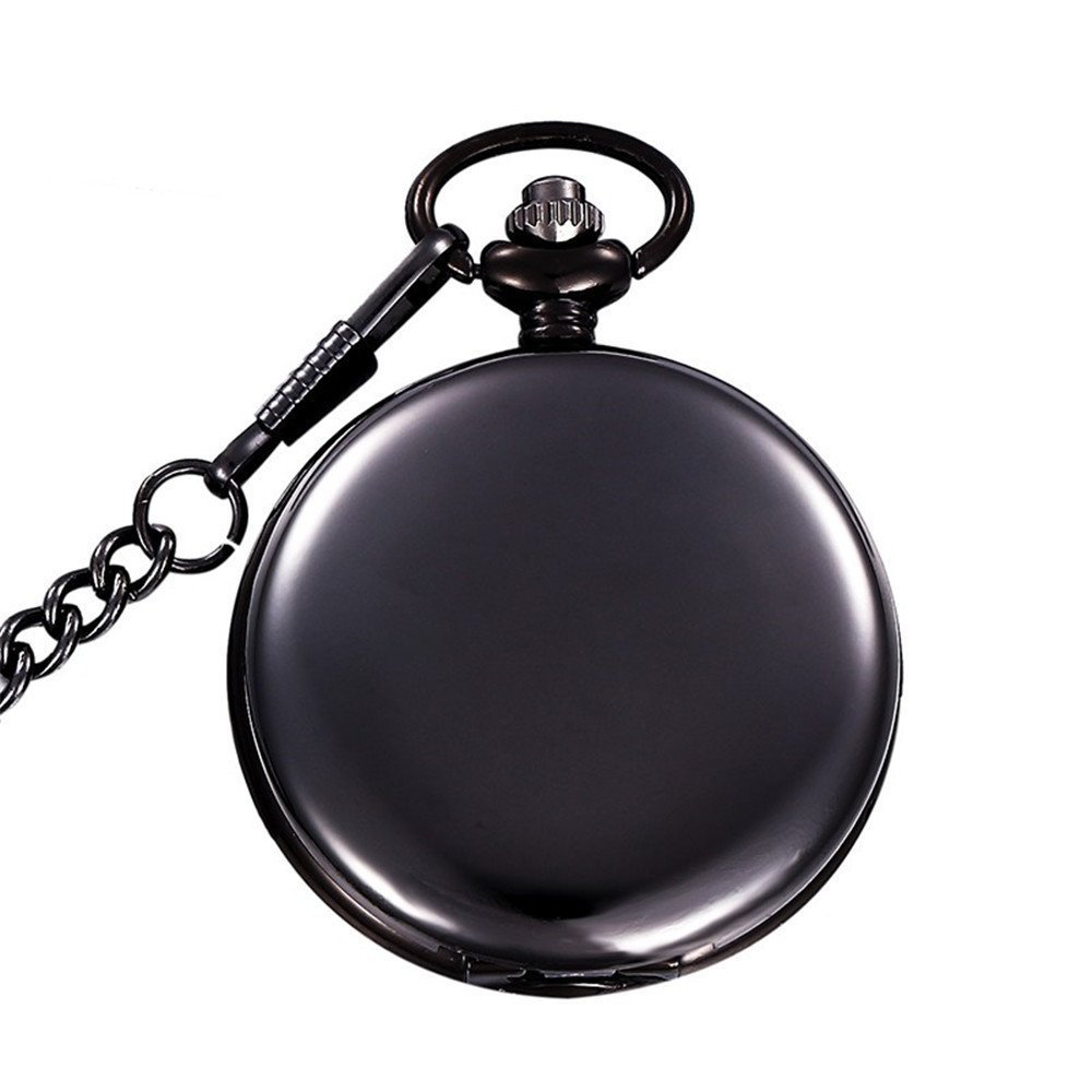 MJSCPHBJK Black Pocket Watch Roman Pattern Steampunk Retro Vintage Quartz Roman Numerals Pocket Watch (Black)
