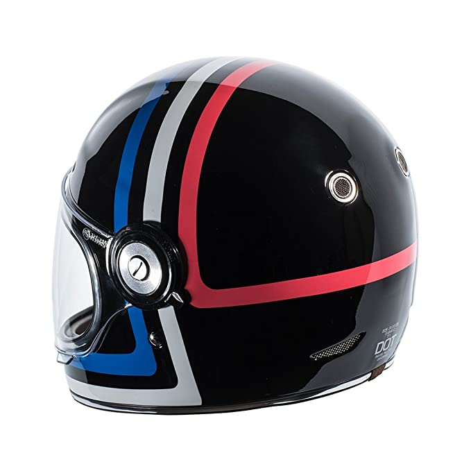 Amazon.com: TORC T1 Retro Fiberglass Full-Face-Helmet-Style Motorcycle Helmet with Graphic (Americana Tron Gloss Black,Small), 1 Pack: Automotive