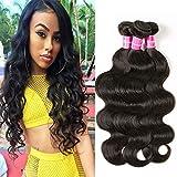 Eullair Body Wave Brazilian Virgin Hair 3 Bundles Human Hair Weave Unprocessed Brazilian Hair Extensions Natural Color(16 18 20)