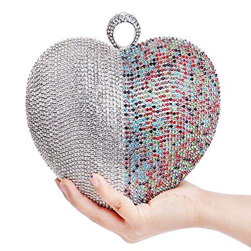 Cadeau Party De Nuptiale Coeur De Paillettes Dames Mariage Clubs À Main Soirée En Main Bandoulière Sac Sac à Femmes Forme Prom Sac Pochette Perlé à Multicolore Diamante Pour wxBfqnaF