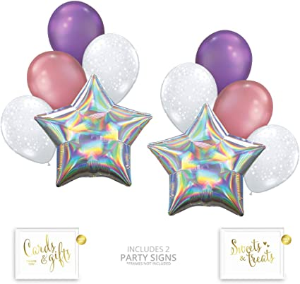 Christmas pack of 5 Silver Holographic Confetti Balloons Party Decorations