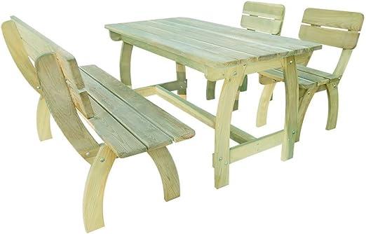 SSITG Jardín Conjunto de muebles de jardín madera Asiento Grupo Banco Silla Madera de pino: Amazon.es: Jardín