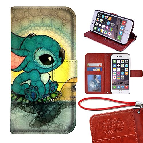 "OHANA iPhone 7 plus 5.5"" wallet Case, Onelee - Disney Lilo & Stitch Ohana Premium PU Leather Case Wallet Flip Stand Case Cover for iPhone 7 plus with Card Slots"