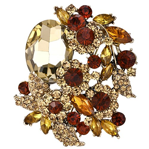 EVER FAITH Rhinestone Crystal Party Flower Leaf Vine Brooch Brown Antique-Gold-Tone