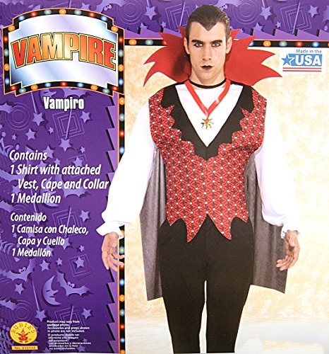 Walmart Halloween Costumes Adults (Adult Vampire Costume Shirt with Cape, Vest, Collar, and Medallion (Large: 36-38))