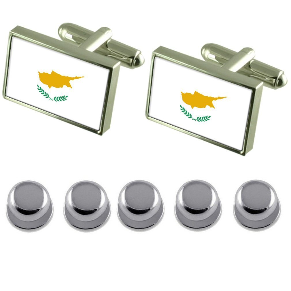 Shirt Dress Studs Cyprus Flag Cufflinks