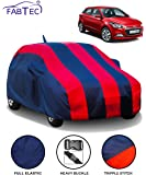 Fabtec Car Body Cover for Hyundai Elite I20 with Mirror Antenna Pocket (Red & Blue)