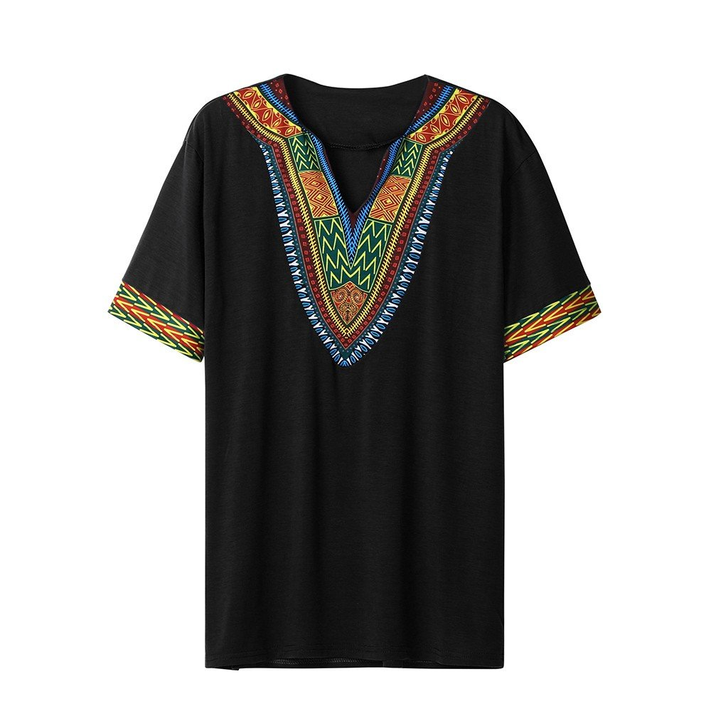Winsummer Men Dashiki Shirts African Print Summer Short Sleeve Graphic Tops V Neck Fashion T-Shirt Tee Black
