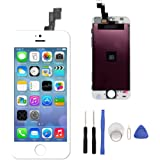 LCD Touch Screen Digitizer Replacement Full Assembly for iPhone 5S With Free Tools Kit (For iPhone 5S White) Color: For iPhone 5S White, Model: , Electronic Store