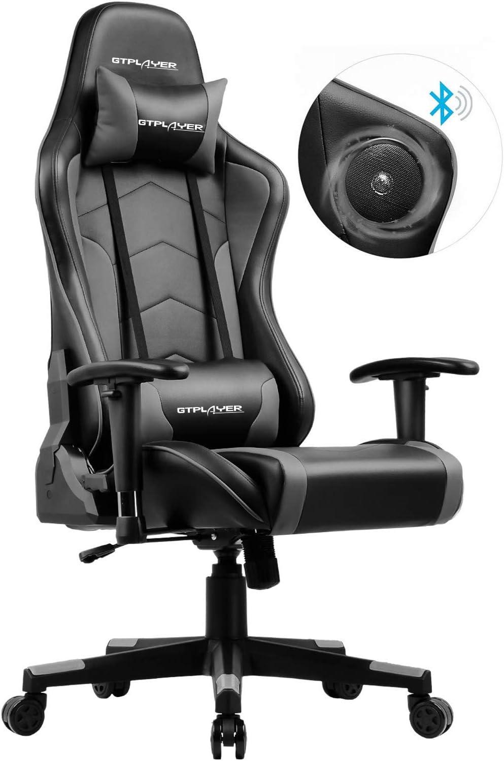 GTPLAYER Silla Gaming con Altavoz Bluetooth Escritorio Oficina Gamer Ergonomica con Cojín Reposabrazos 3D Ajustables Respaldo Reclinable Multifuncional GTRACING Series (Gris)