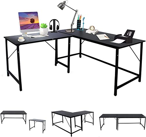 Bizzoelife 59 59″ L-Shaped Corner Computer Desk Adjustable 2 Person Table L