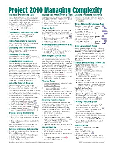 Microsoft Project 2010 Quick Reference Guide: Managing Complexity (Cheat Sheet of Instructions, Tips & Shortcuts - Laminated (Microsoft Projects 2010)