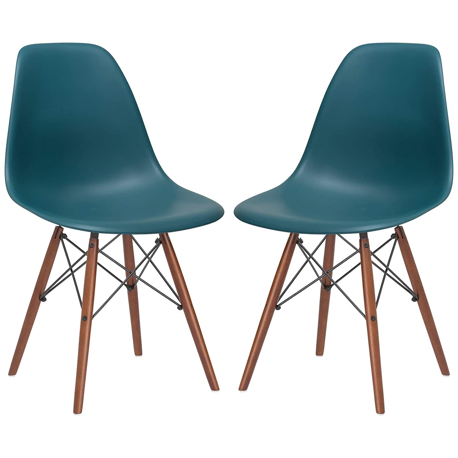 Poly and Bark Vortex Modern Mid-Century Side Chair with Wooden Walnut Legs for Kitchen, Living Room and Dining Room, Teal Set of 2