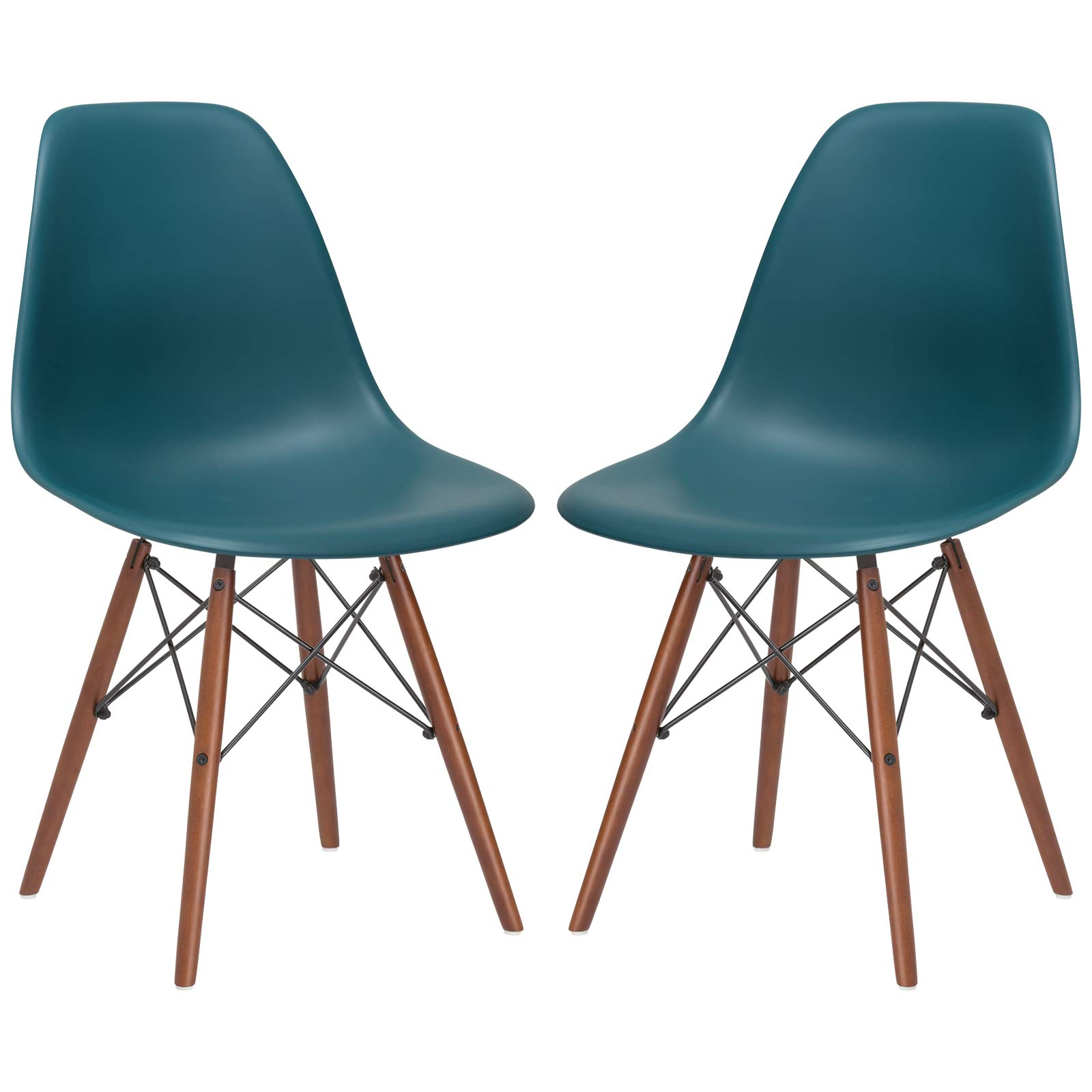 Poly and Bark Vortex Modern Mid-Century Side Chair with Wooden Walnut Legs for Kitchen, Living Room and Dining Room, Teal (Set of 2) by POLY & BARK