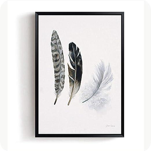 Black White Feather Wall Art Canvas Poster Nordic Print Skandinavian Decoration