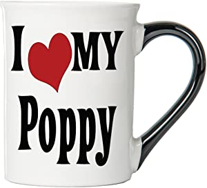 Cottage Creek Coffee Mug, I Love My Poppy Coffee Mug, Large Ceramic 18oz Poppy Coffee Cup, Poppy Mug [White]