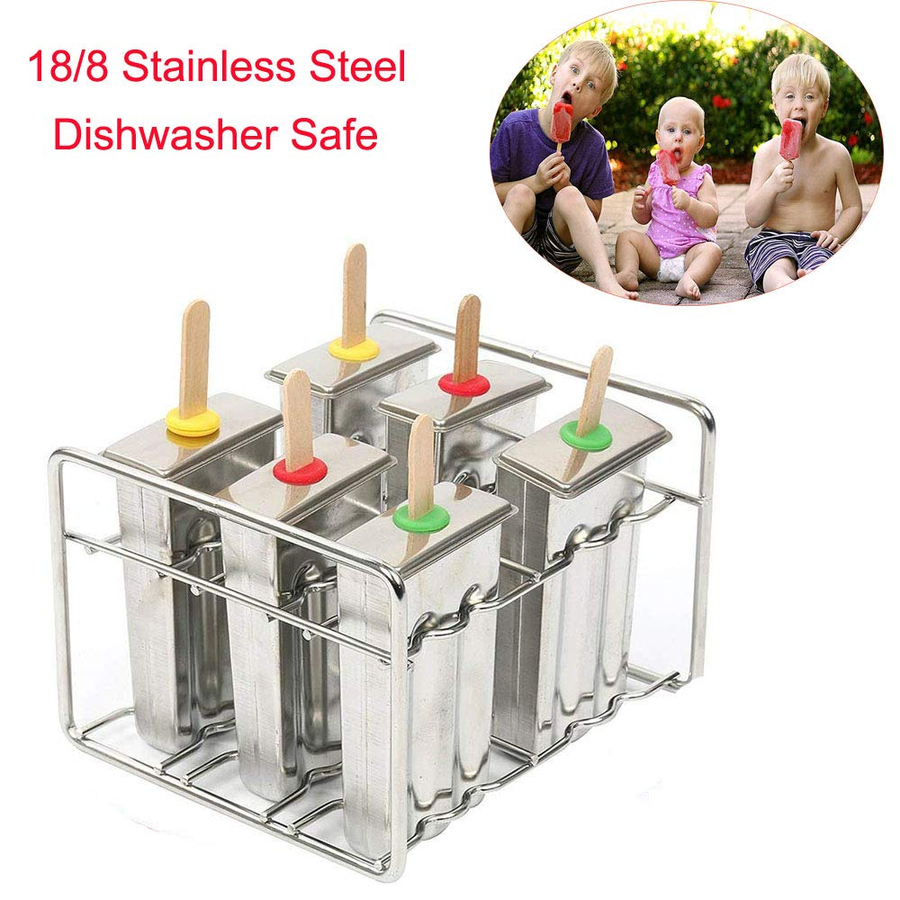 Ice Pop Molds Stainless Steel Popsicle Molds and Rack Homemade 6 Ice Lolly Pop Makers and Silicone Seals With 50 Reusable Bamboo Sticks - Bonus Cleaning Brush