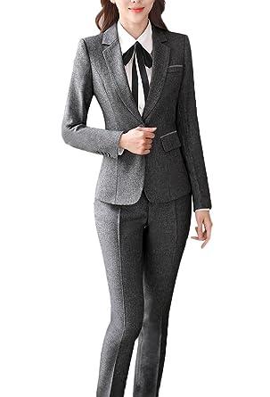 3dd330a9e23 SK Studio Femmes Blazer Tailleurs Pantalons De Bureau 2 Pièces Revers  Casual Costume Manteau  Amazon.fr  Vêtements et accessoires
