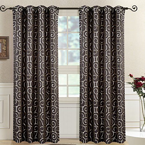 - Royal Bedding Tuscany Chocolate Panels, Top Grommet Abstract Jacquard Textured Window Curtain Panel, Set of 2 Panels, 52x63 Inches Each