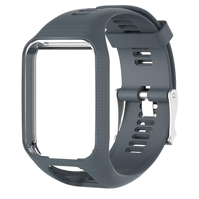 Correa de Reloj silicona de repuesto para reloj Strap de Recambio/Reemplazo Deportivos o Smartwatch TomTom series 3/series 2 (25cm) (gris)
