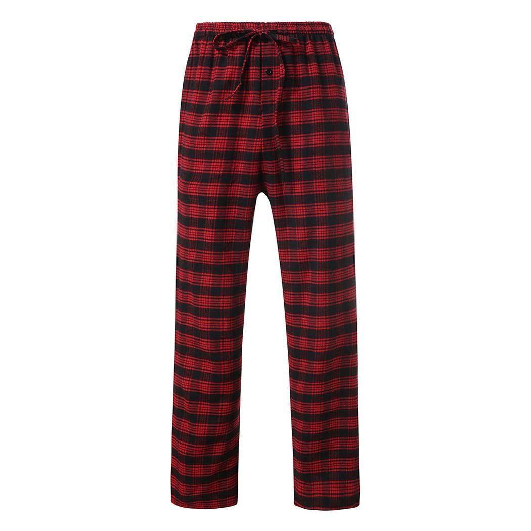 Men Loose Cotton Pajama Pants Elastic Waist Plaid Drawstring Long Sleep Pants S-XXL