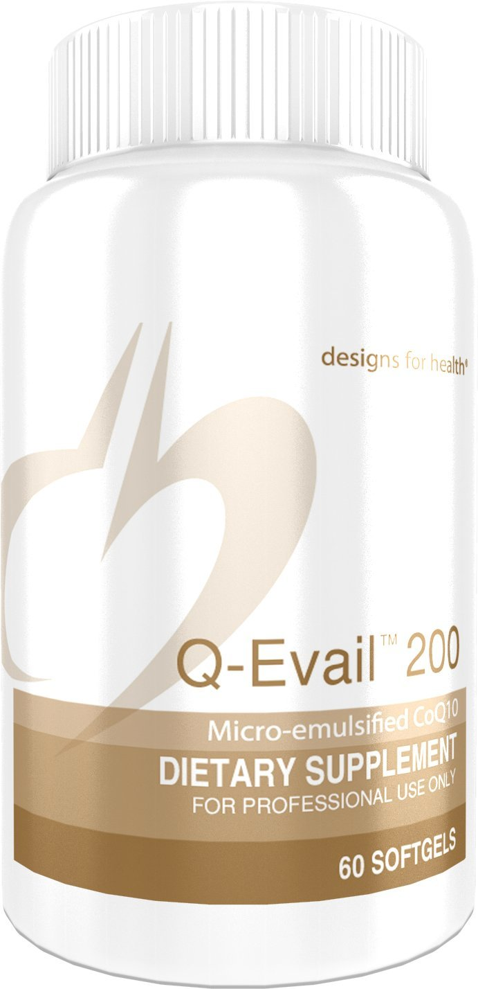 Designs for Health Q-Evail 200 - CoQ10 Ubiquinone 200 Milligrams Softgels, Natural Coenzyme Q10 with MCT + Mixed Tocopherols (60 Softgels)