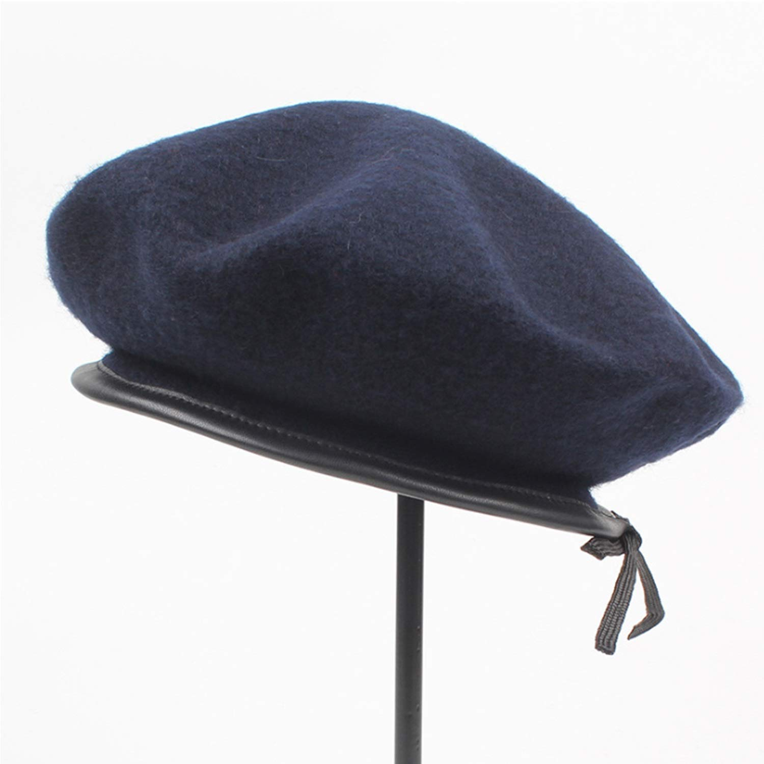 Women Autumn//Winter Japanese Fashion Wool Beret Leather End Painter Hat,Leisure Fashion Cap. Happy-L Hat Color : Navy, Size : M