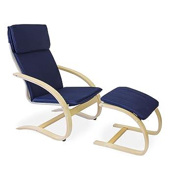 Beliebt Homestyle4u Schwingsessel Freischwinger Sessel mit Hocker in blau IR83
