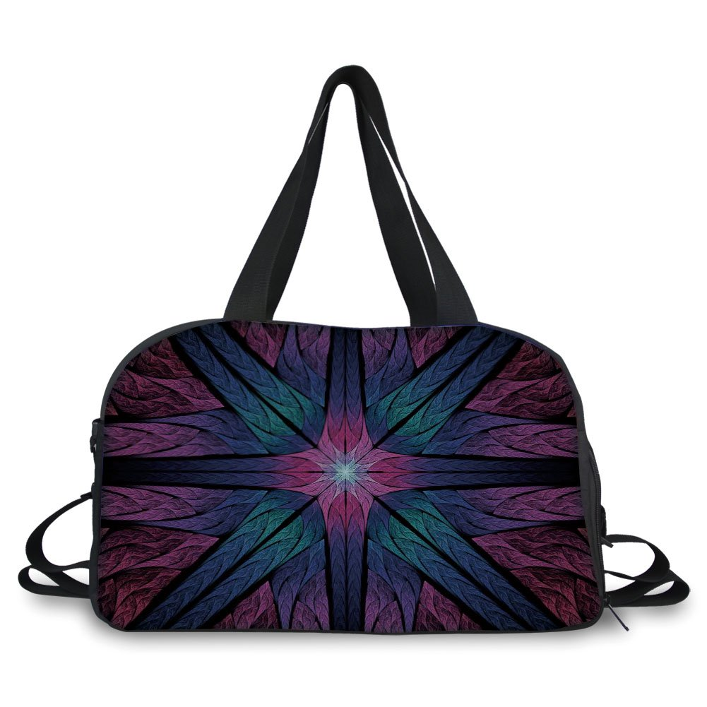 Travelling bag,Fractal,Psychedelic Colorful Sacred Symmetrical Stained Glass Figure Vibrant Artsy Design,Plum Indigo ,Personalized