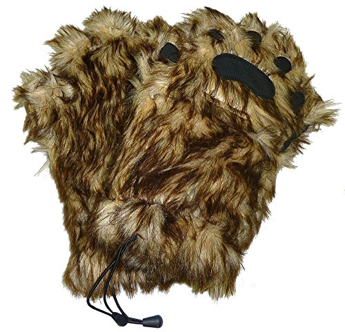 BearHands Sumptuous Faux Fur Mittens - with handy flap opening for when fingers are needed! (Adult Large) - Chewie Star Wars