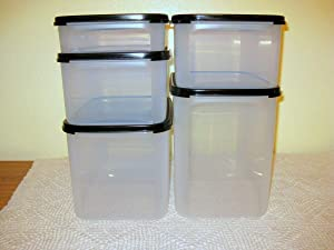 4 Piece Tupperware Modular Mates Rectangle Set with Black Seals. Sizes 1, 2, 3, & 4