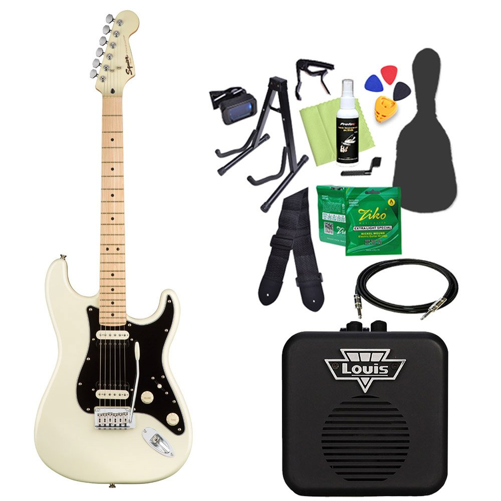 Squier by Fender Contemporary Stratocaster HH PWH エレキギター 初心者14点セット 【ミニアンプ付き】 ストラトキャスター スクワイヤー/スクワイア   B07CNSF7YZ