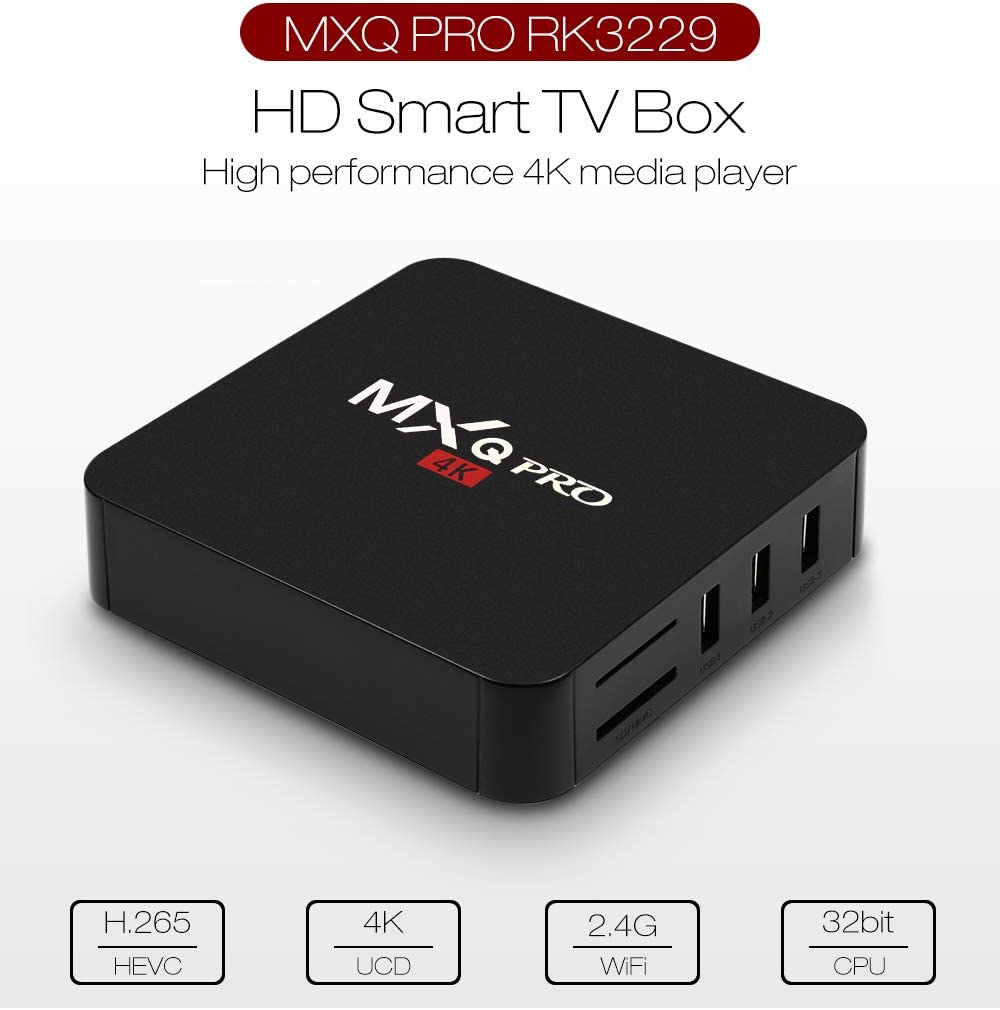 MaxDigi 2019 MXQ Pro 4K Box RK3229 Quad-Core Android 7.1 Smart IPTV-Box Quad Core 1 Go 8 Go Lecteur multim/édia